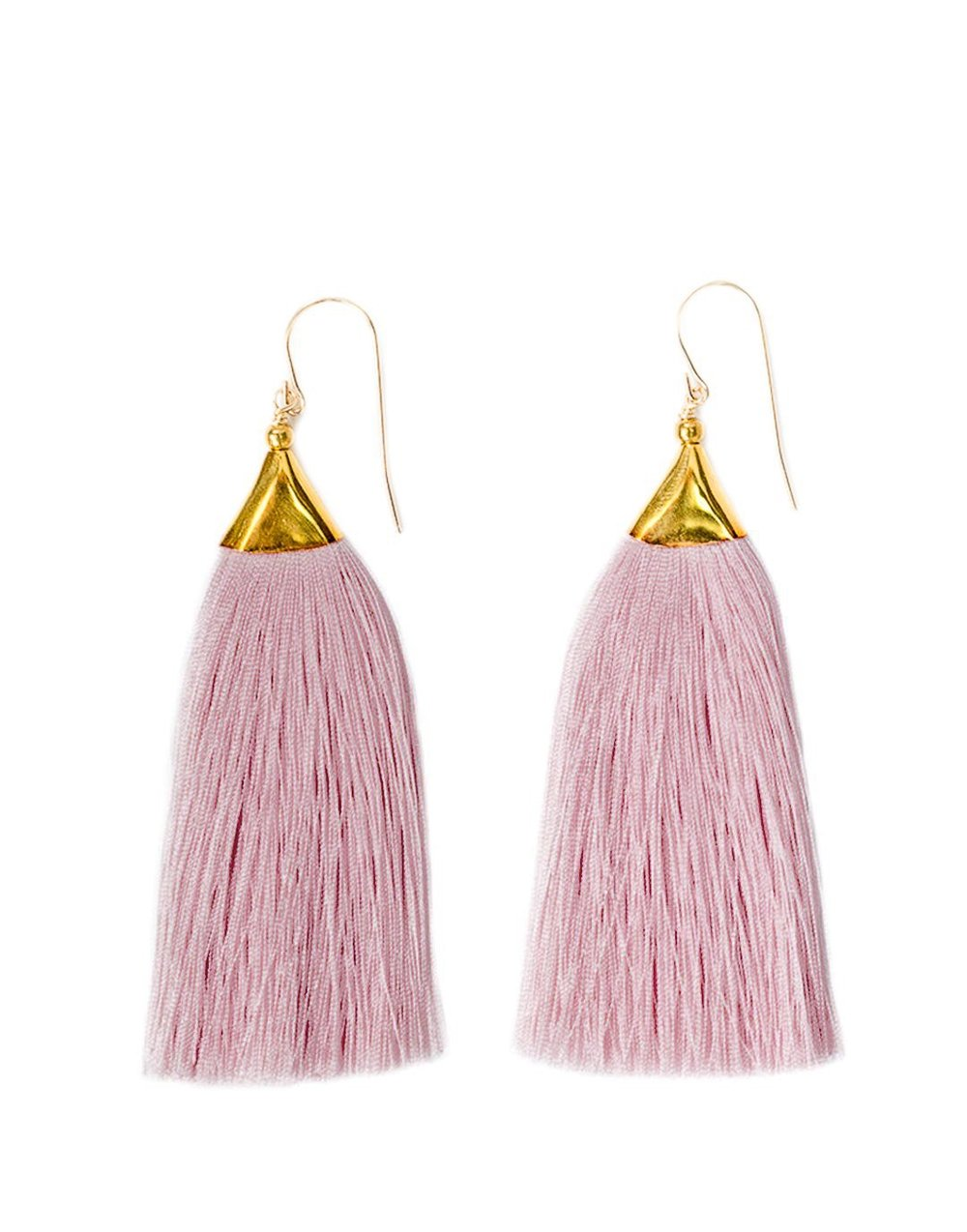 THE LITTLE MARKET   Tassel Earrings Mauve