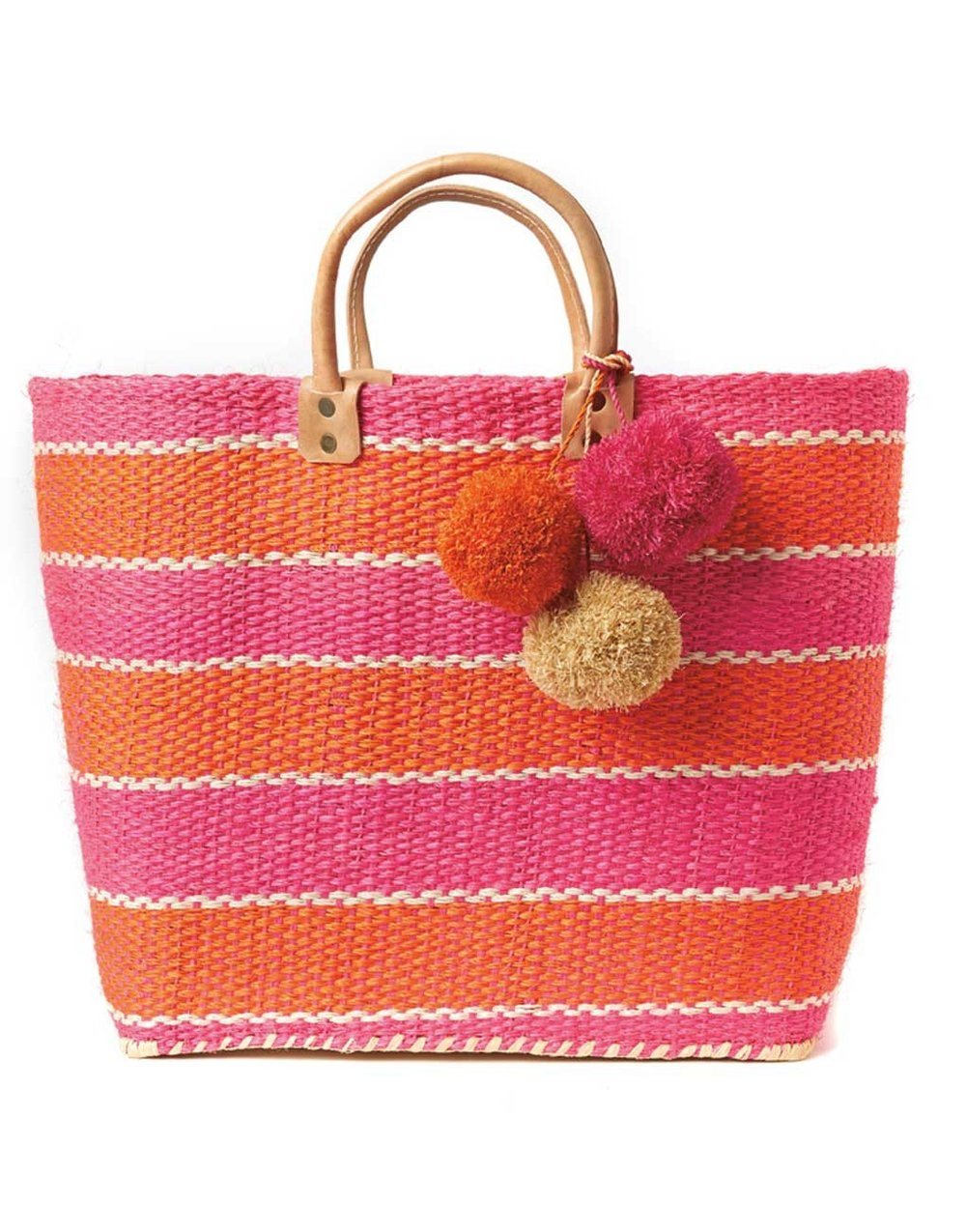 THE LITTLE MARKET   Pom Pom Beach Bag - Flamingo