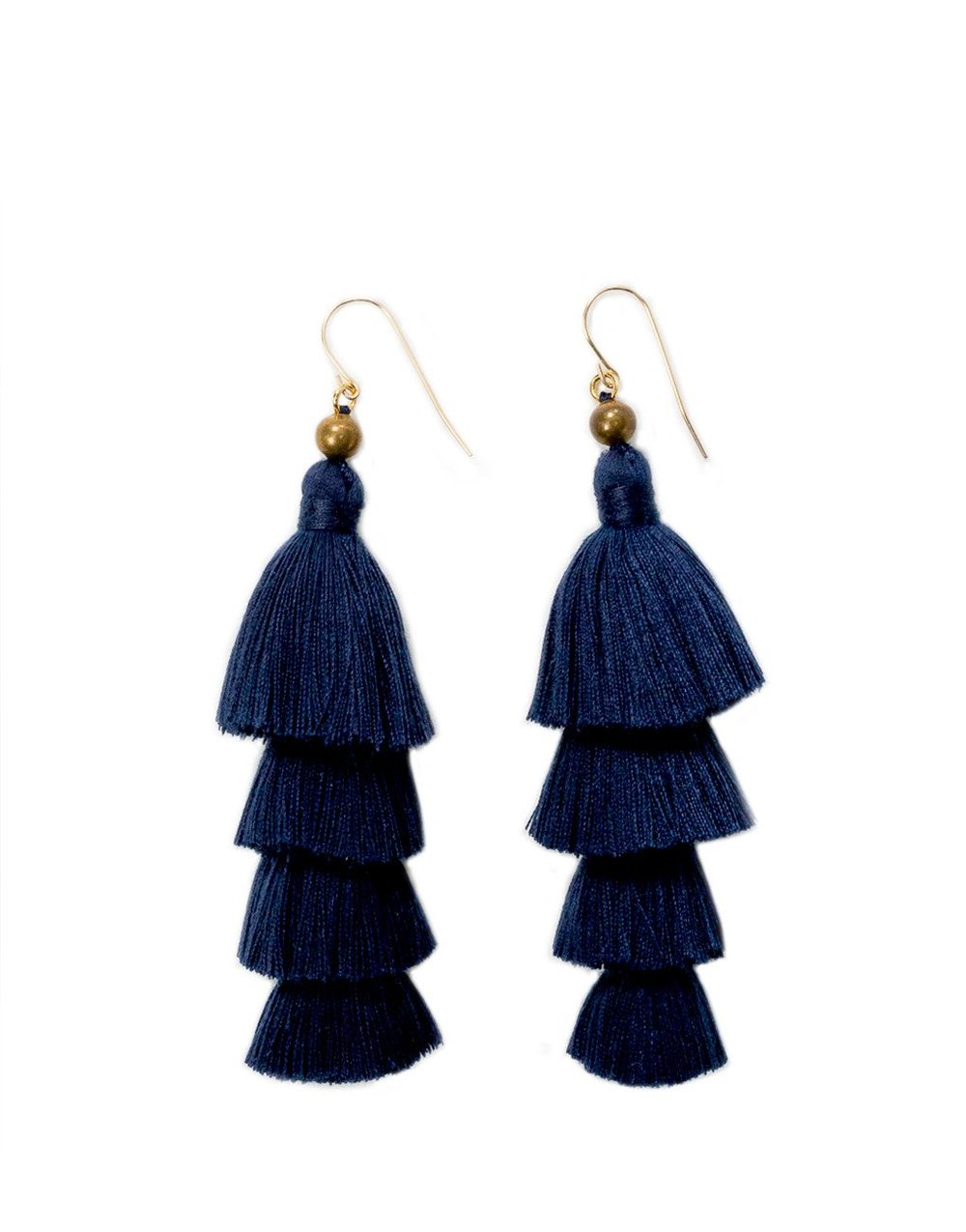 THE LITTLE MARKET   Layered Tassel Earrings - Navy