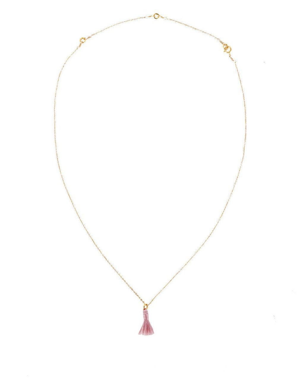 THE LITTLE MARKET   Tiny Tassel Necklace - Mauve