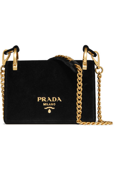 PRADA   Pionniére Velvet Shoulder Bag