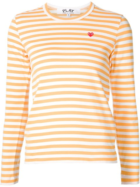 COMMES DE GARÇONS X PLAY    Mini Heart Striped Shirt