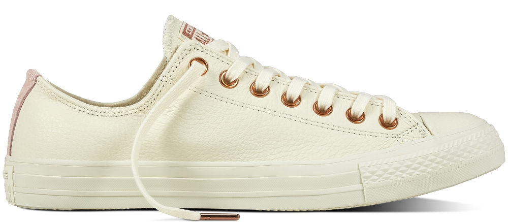CHUCK TAYLOR - ALL STAR   Leather Low Top - Egret/Blush Gold/Vapor Pink
