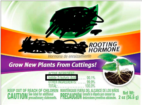"""Image 4: This is the first search result for """"plant rooting hormone"""" I saw on a search engine inquiry. BEHOLD! Indole-3-butyric acid is listed as the only active ingredient."""