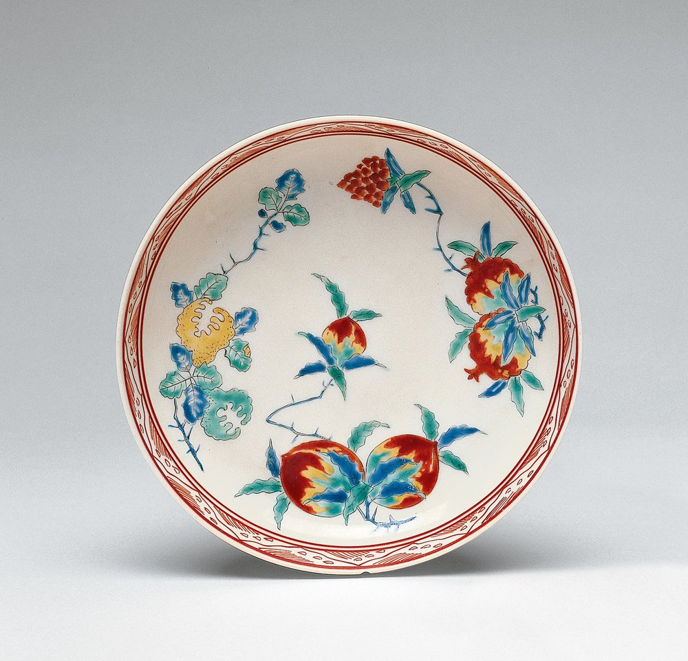 Dish with Pomegranates, Peaches and Finger Citron . 18th century Japan. Artist Unknown.