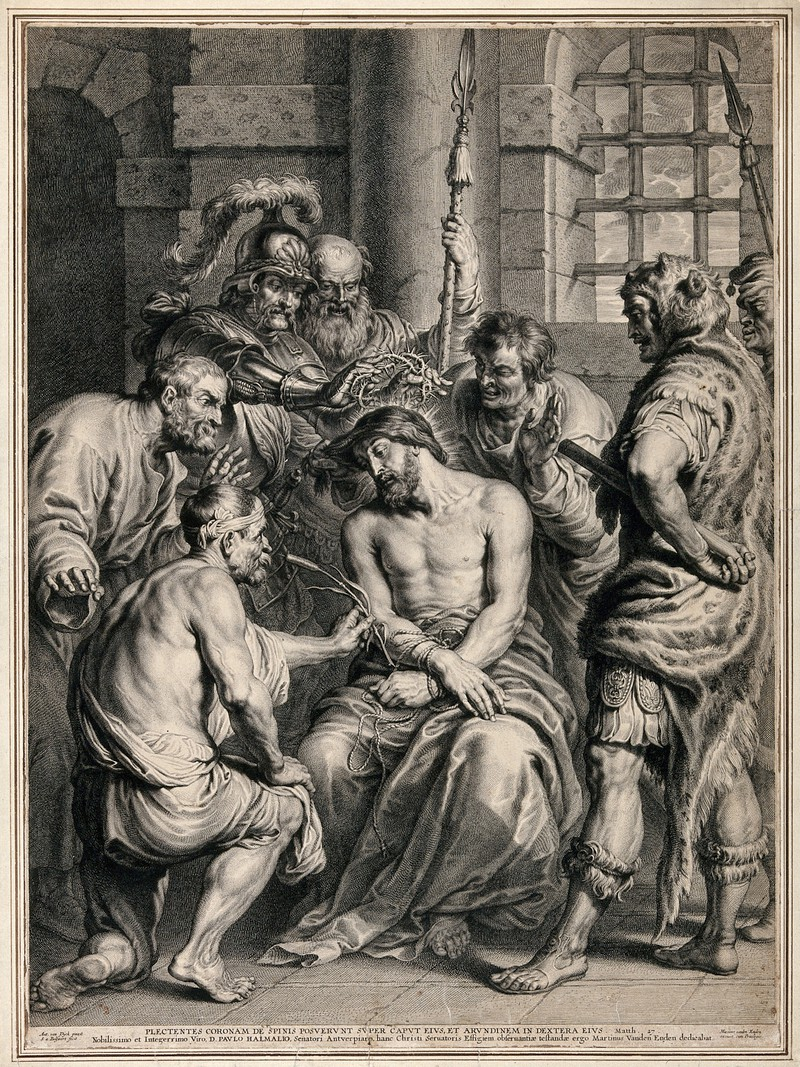 The mocking and flagellation of Christ ; he is crowned with thorns and handed a reed as a mock sceptre. Line engraving by S.A. Bolswert after A. van Dyck. Credit:  Wellcome Collection .  CC BY