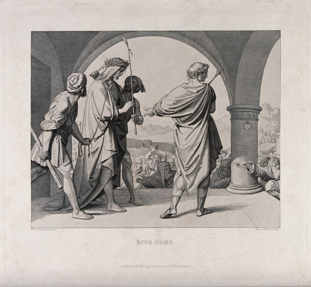 Christ is paraded before the people wearing a crown of thorns . Etching by F.P. Massau after J.F. Overbeck, 1848. Credit:  Wellcome Collection .  CC BY