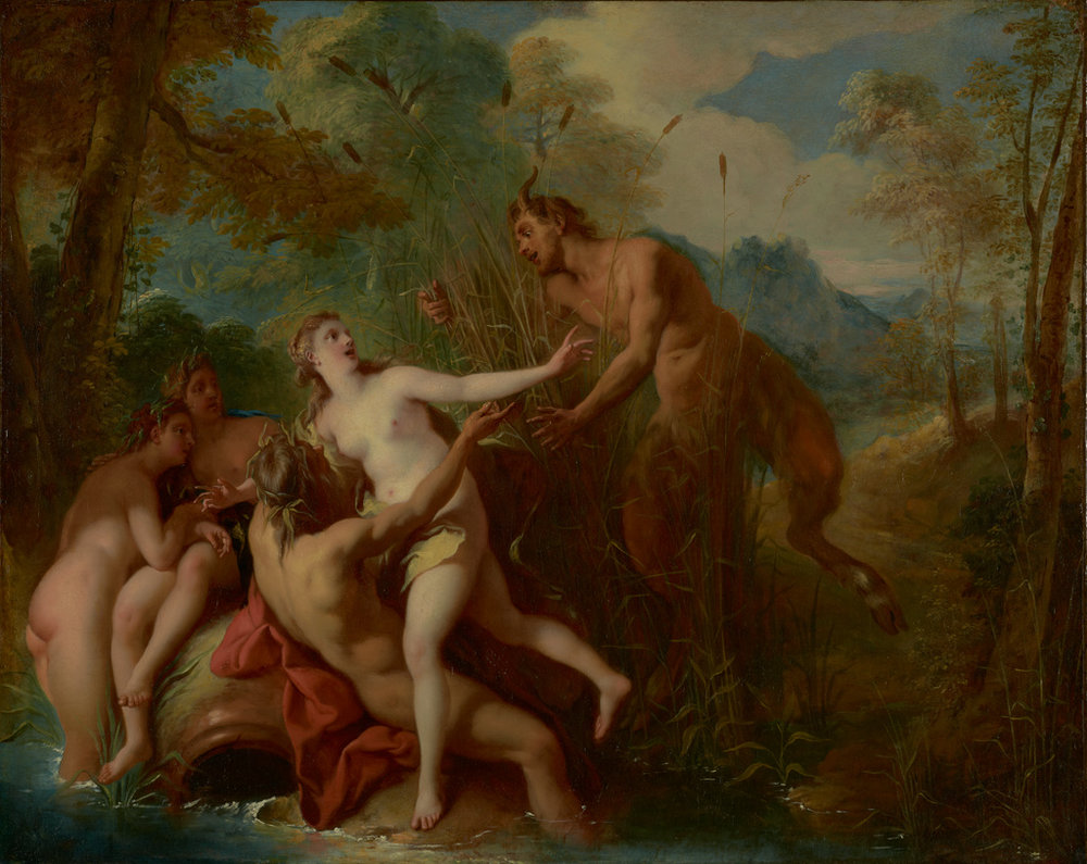 Pan and Syrinx.  This French painting created by   Jean-François de Troy within the years 1722 - 1724 is housed at the J. Paul Getty Museum. Image in the Public Domain and can be accessed     HERE  .