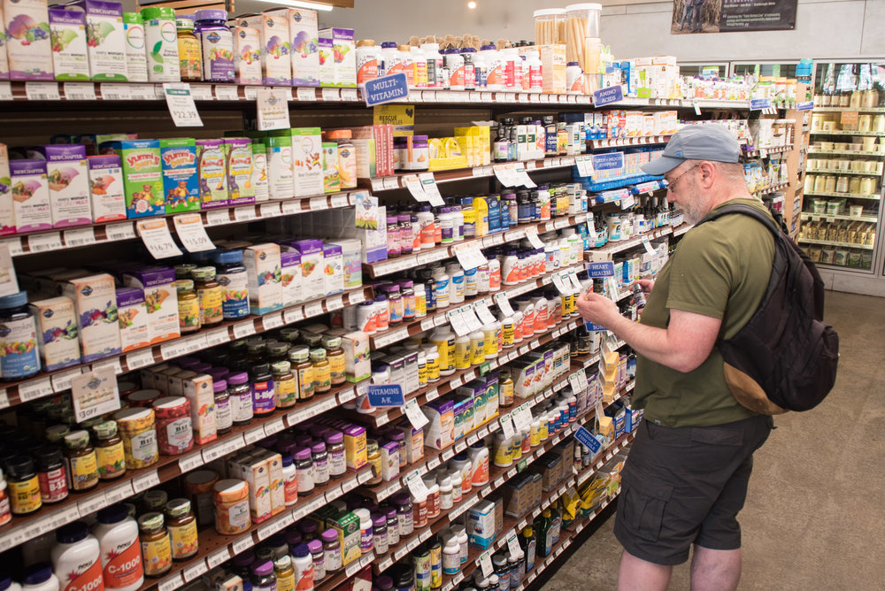 Vitamins & Supplements - We have a large selection of vitamins, supplements, protein powders, homeopathic remedies, tinctures, and more!