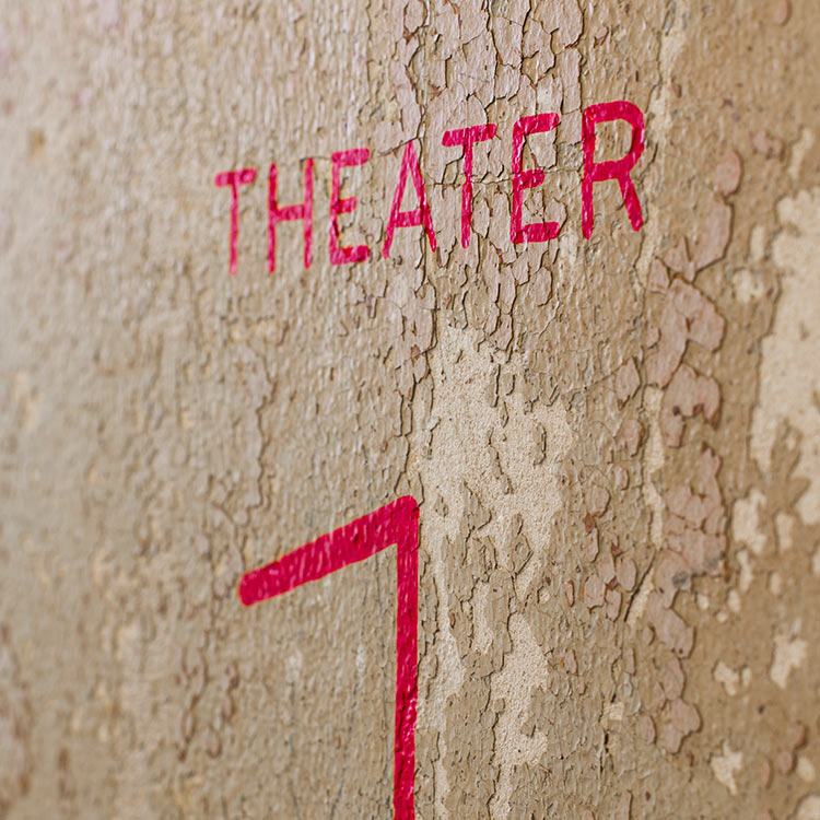 Dynamic Wayfinding  - Wayfinding graphics play a leading role in the experience of visiting the Parkway. Prominent directional signage guides visitors through the 100-year-old building's complex floorplan. Cinematic frames project across wall planes and textured surfaces and highlight architectural details. We painted these wayfinding graphics directly onto the walls, adding a new layer to the palimpsest of history in the historic building.