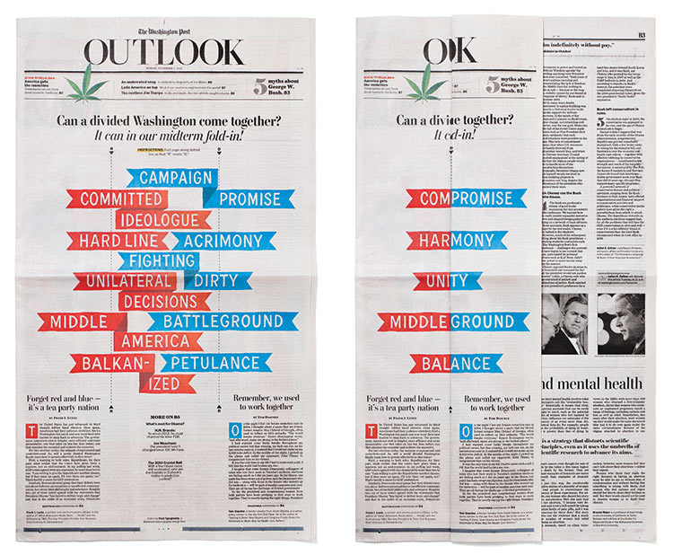 We created this Mad Magazine-style fold-in to accompany editorials by Republican and Democratic leaders, each recommending ways for a polarized congress to come together.  Washington Post , Art Director: Kristin Lenz