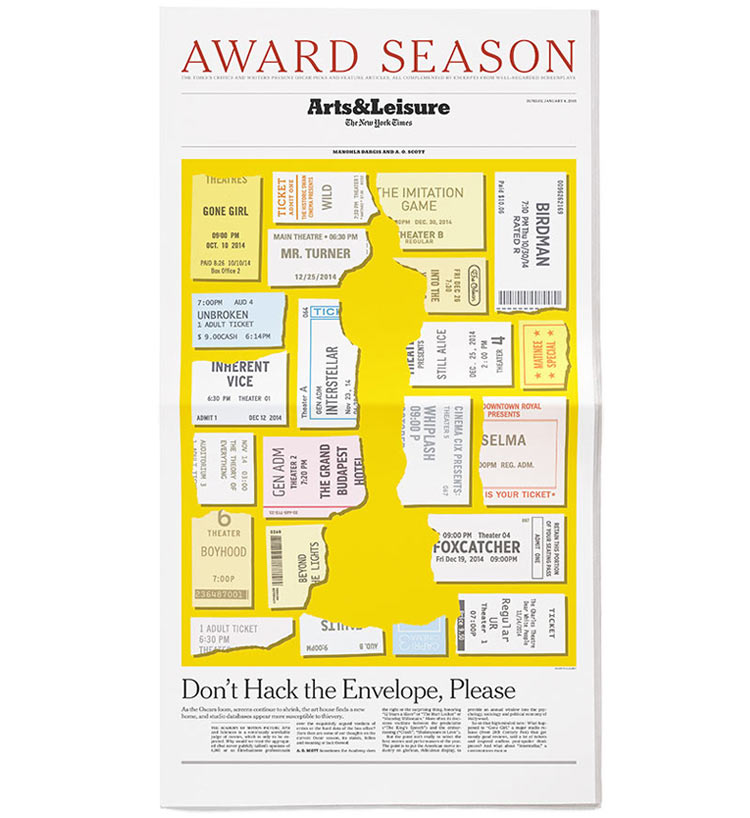 For a  New York Times  Oscars preview we suggested the form of the golden statuette through torn ticket stubs of Oscar-contending films. Art Director: Paul Jean