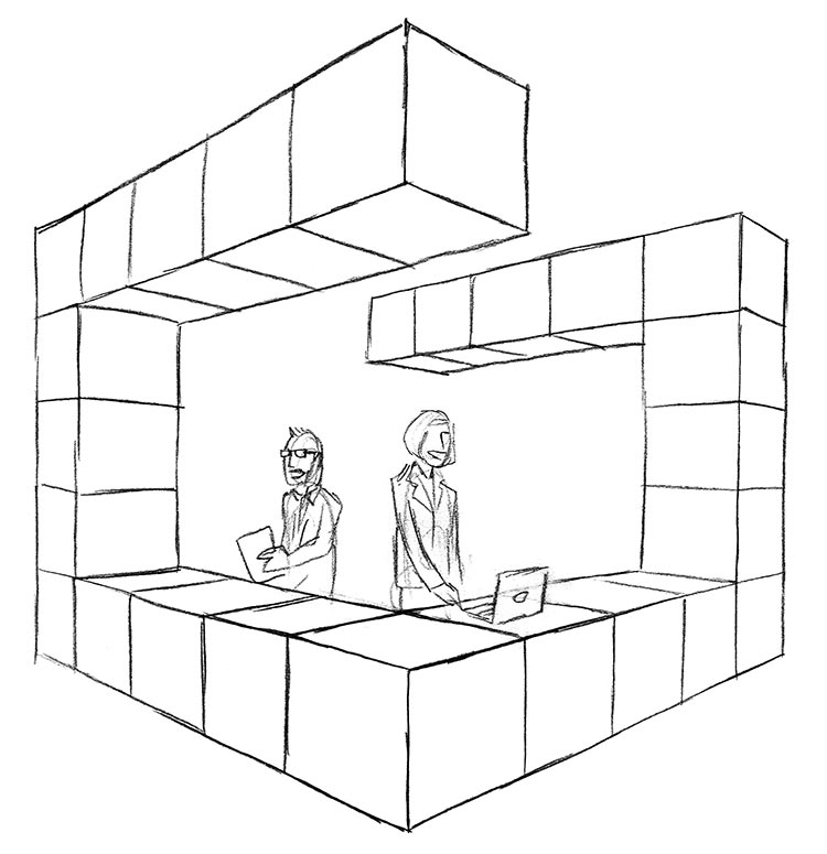 """Event Structures and Wayfinding - We worked with Greenbuild's fabrication team to provide creative direction. The cubes became a modular three-dimensional element for trade show furniture, booths, and wayfinding signage. We even proposed fabricating our """"G"""" illustration as an information kiosk."""