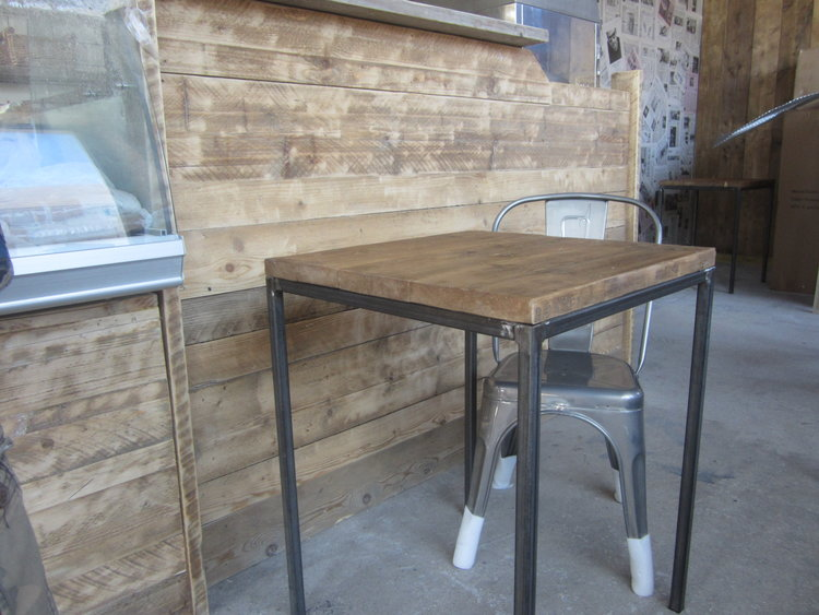 cafe tables stackable reclaimed earth designs
