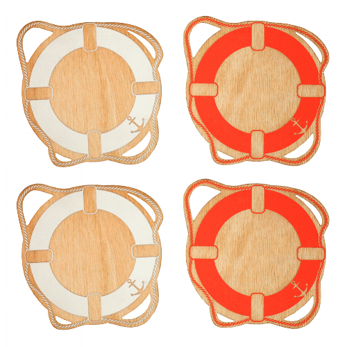 Life Ring Coasters [$37] by way of   Benoit's Design Co.