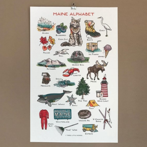 Maine Alphabet Print [$35] by way of   Three Little Words