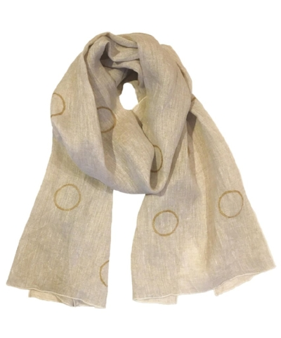 Gold Circle Scarf [$139] by way of   South Street Linen