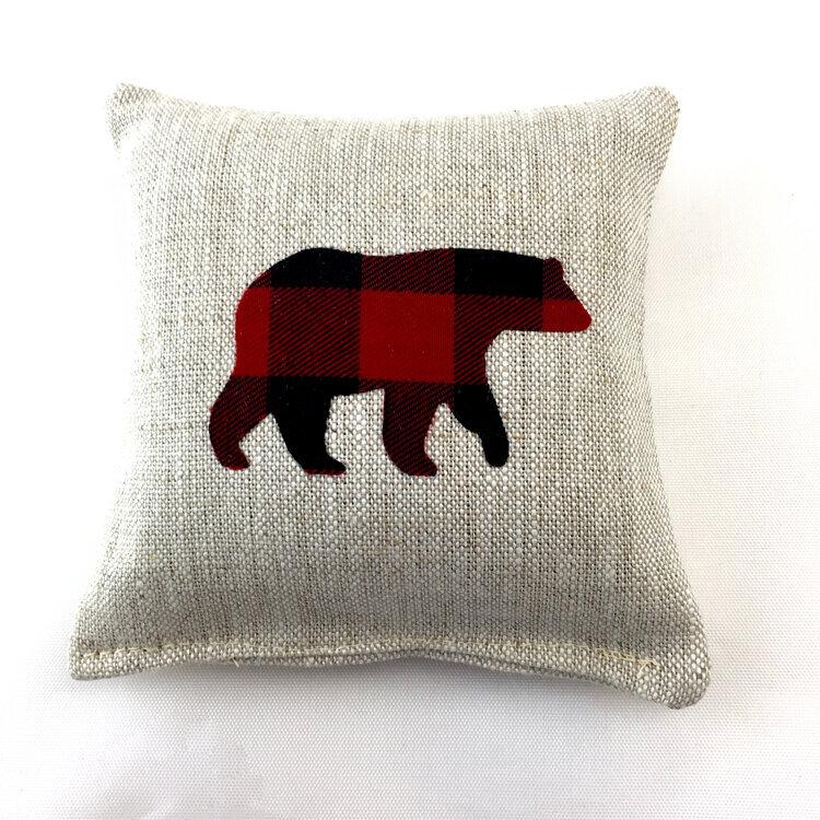 Maine Balsam Fir Sachet with Appliqued Black Bear on Cotton and Linen