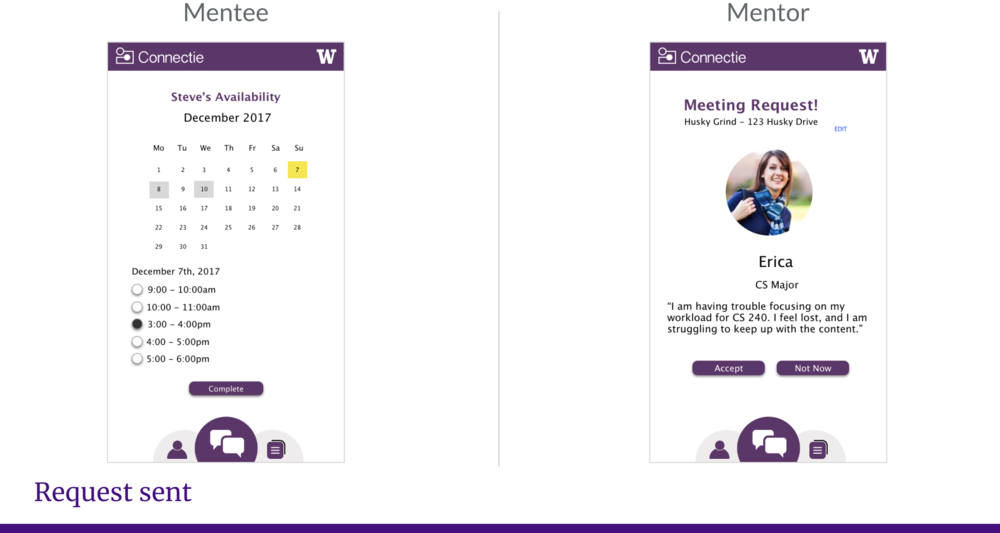 Mentee selects an available time slot provided by the mentor, and the mentor can choose to accept or reject the request.