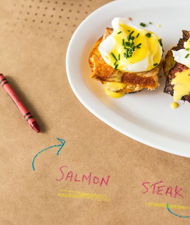 salmon, steak or mushroom? or maybe sausage? 🍳when it comes to eggs benedict, the only thing that can make it better is options.😏 #brunch #keepitsimplethings #seeyousoon