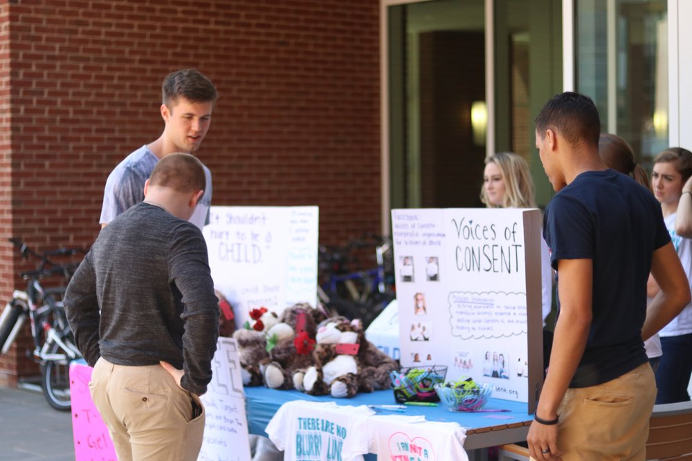 This fundraiser was put on outside the library at Liberty University. As a team, we sold t-shirts and stuffed animals to raise funds for our nonprofit license as well as funds to make more survivor boxes. We gained 4 new volunteers from this fundraiser and had two victims come forward with their story!