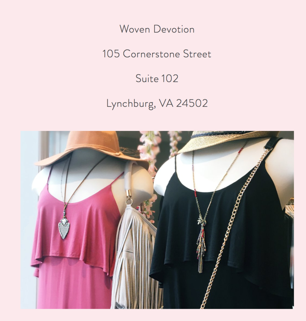 Feel free to stop in Woven Devotion to see our display and shop the extremely cute clothes!