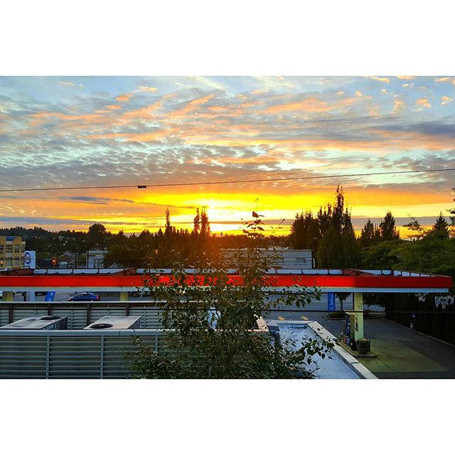 When you live next to the gas station but get an A plus view of the sunsets because the low roof. #silverlining #socity
