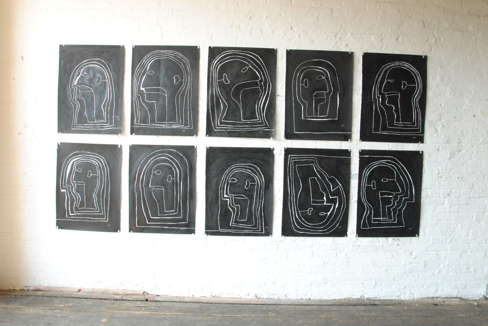 HEADS, 2010 - 2011  Gesso paint, Oil, China Ink on Arches Paper 22.5 by 30 inches