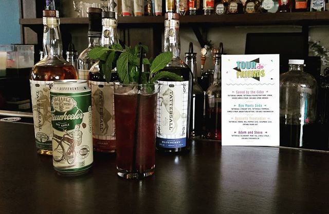 Its rainy, but we're still kickin' it old school for Tour de Friends with our buds @tattersalldistilling and @sociablecider in the lounge. We'll be featuring cider cocktails all week from this menu.