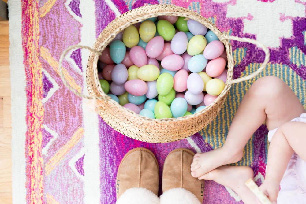 Easter Egg Hunt and Colorful Easter Eggs
