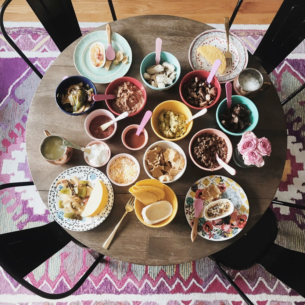 taco bar flat lay cinco de mayo
