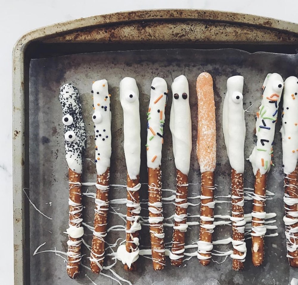 Make ghost pretzels  via Kendra Henderson