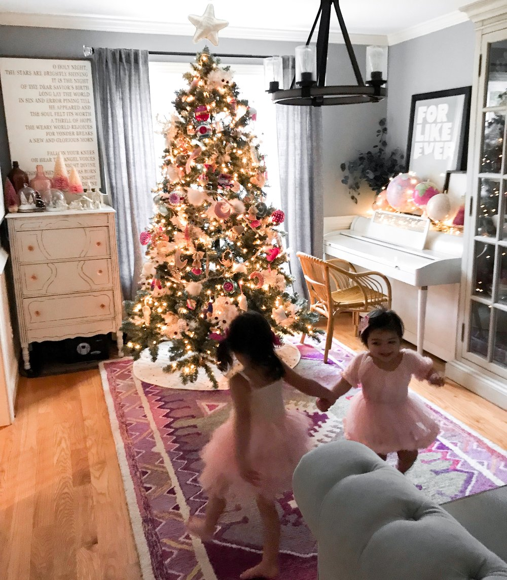 Our formal tree is in our dining room and the girls have loved looking at these twinkling nights every single night and dancing like sugar plum fairies.