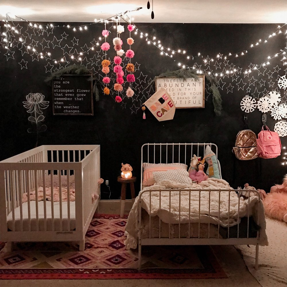The girls' twinkle lights in their room at night are so dreamy!
