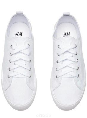 H&M White Twill Sneakers