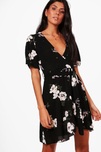 Boohoo Floral Ruffle Dress