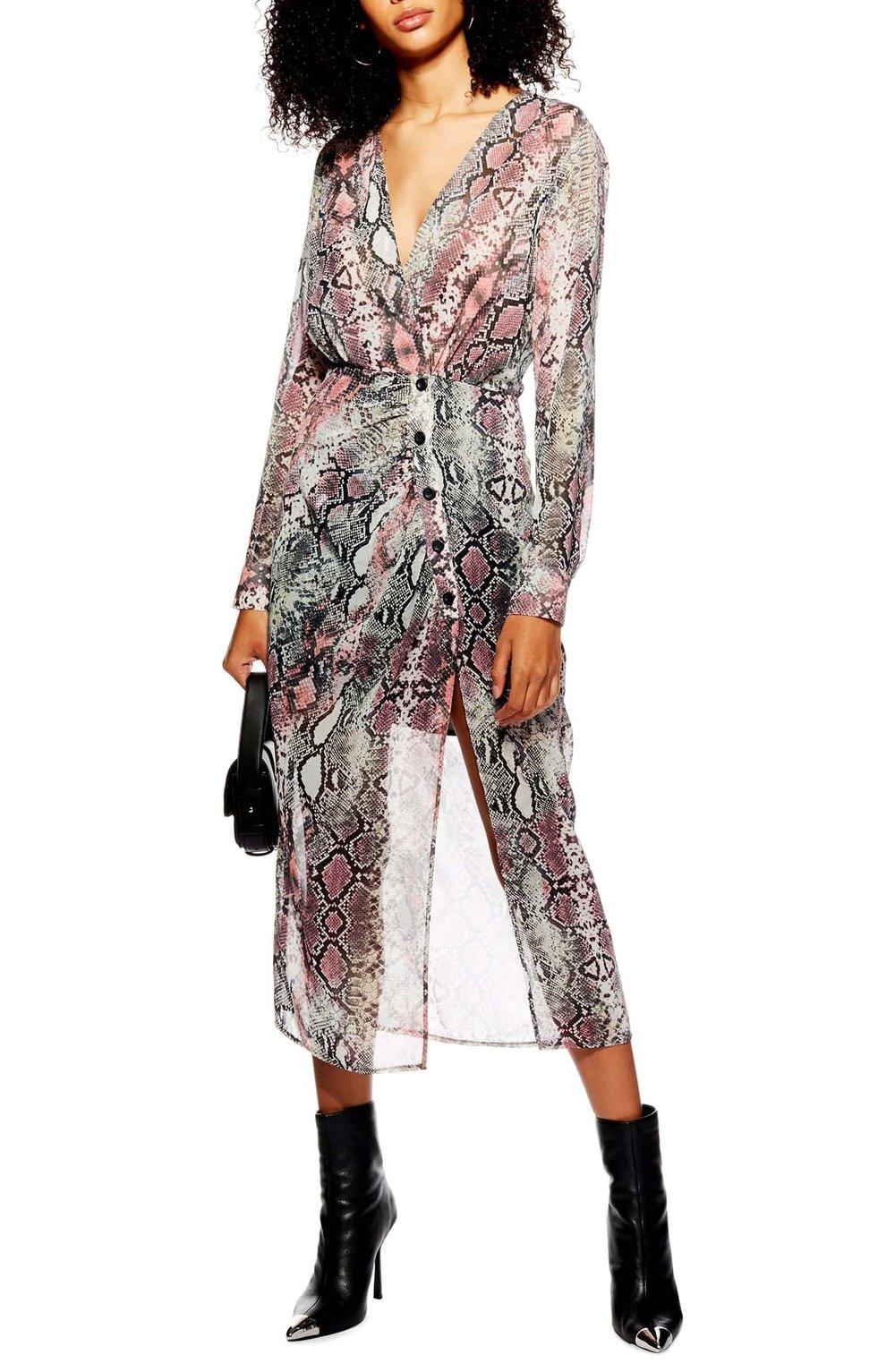 Topshop Snakeprint Dress