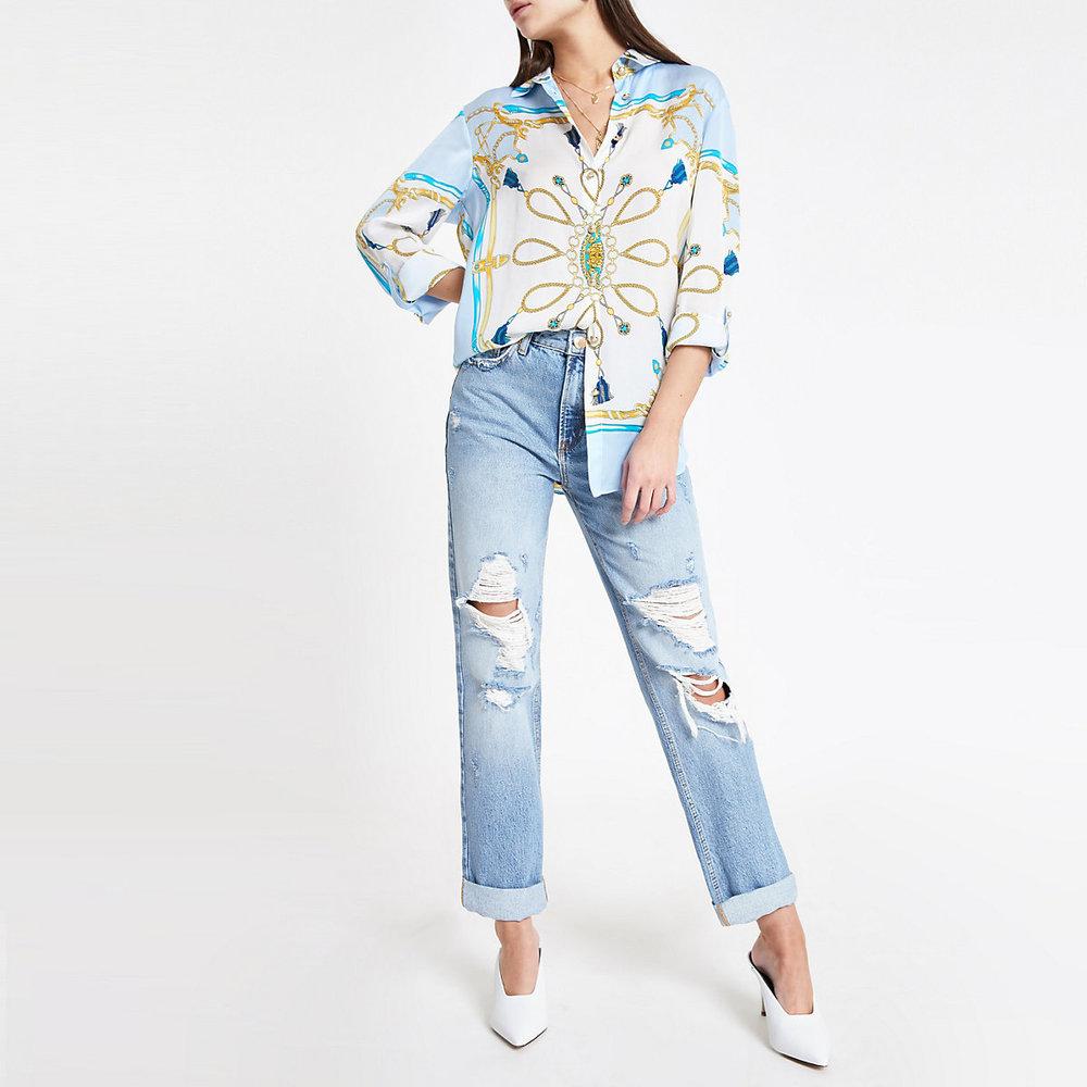 River Island Blue Scarf Print Roll Sleeve Shirt