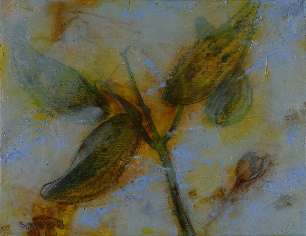 "Blue Milk Weed  13""x9"" Encaustic and oil stick on wood panel"