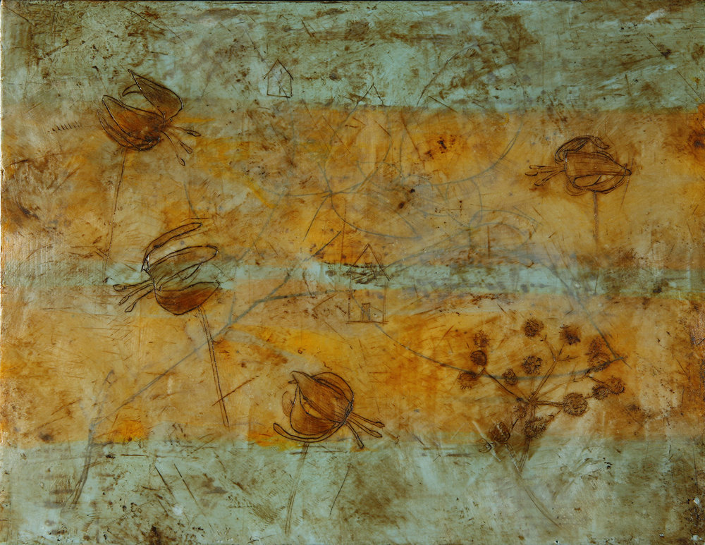 "Autumn Stripes  13""x9"" Encaustic and oil stick on wood panel"