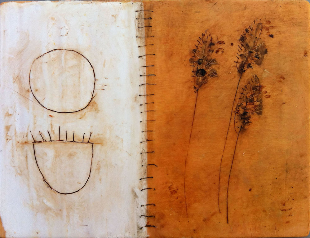 "Ochre Spiral  8""x7""  Encaustic and oil stick on wood panel"