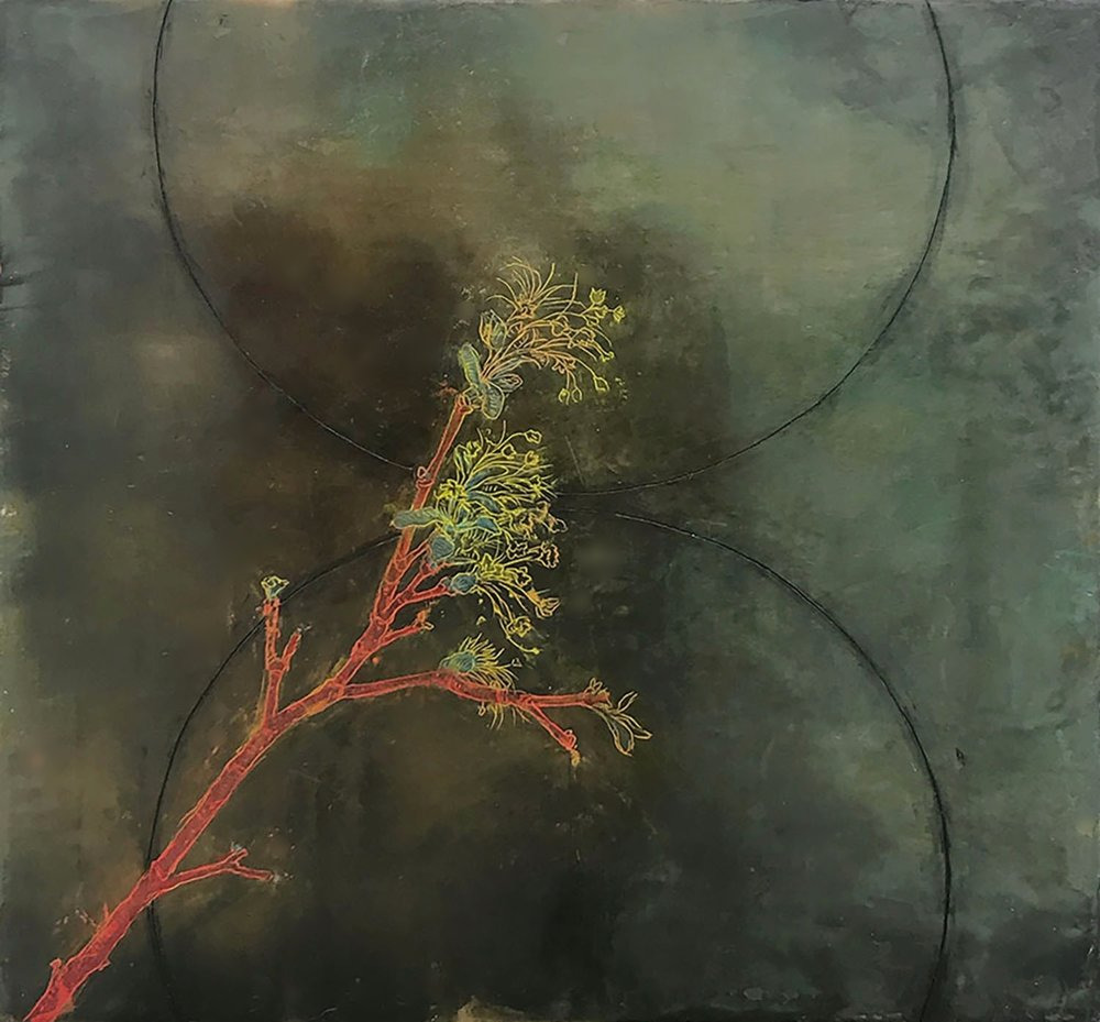 "Spring Branch 18""x18""  Encaustic and oil stick on wood panel"