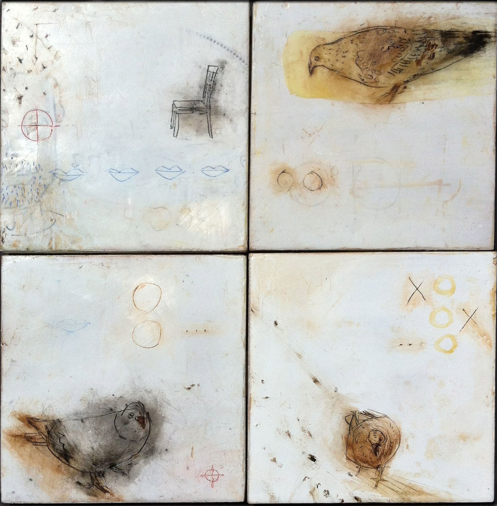 "Four Square, Waiting, Watching  12""x12"" Encaustic and oil stick on wood panels"