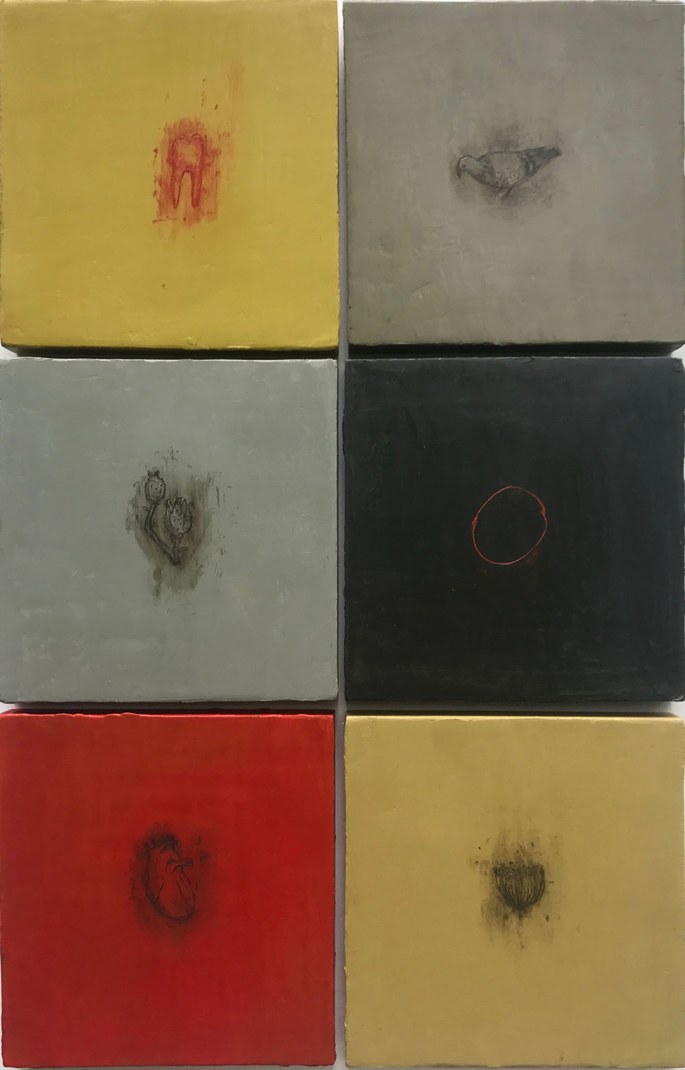 "Six Small, Favorite Things  16""x24"" Encaustic and oil stick on 6 wood panels"