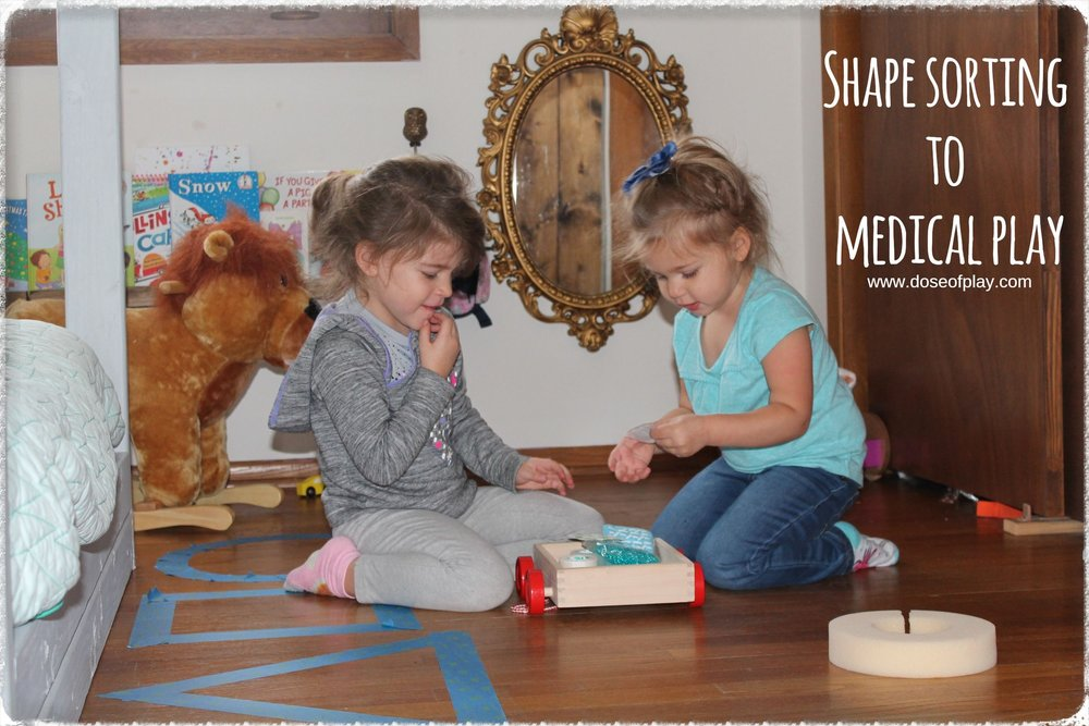 Children explore and manipulate medical items through this shape sorting game, leading to open-ended medical play fun!