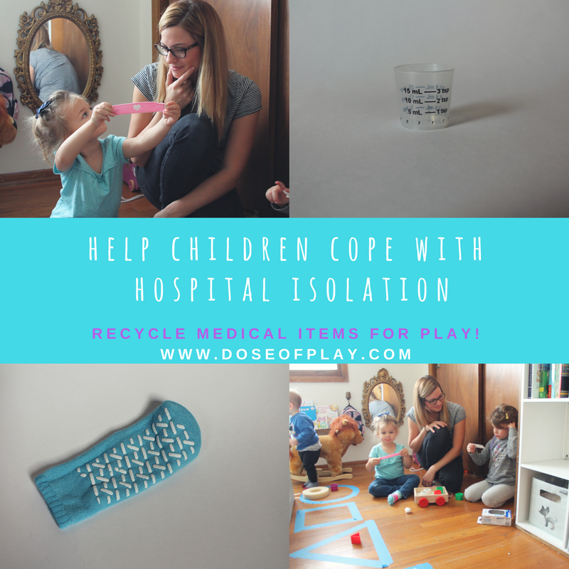Help children cope with hospital isolation by recycling medical items for play. Check out this easy shape sorting game at www.doseofplay.com #play #recycledplay #doseofplay #hospitalisolation #toddlerplayideas #preschoolplayideas #isolationroom #childlife