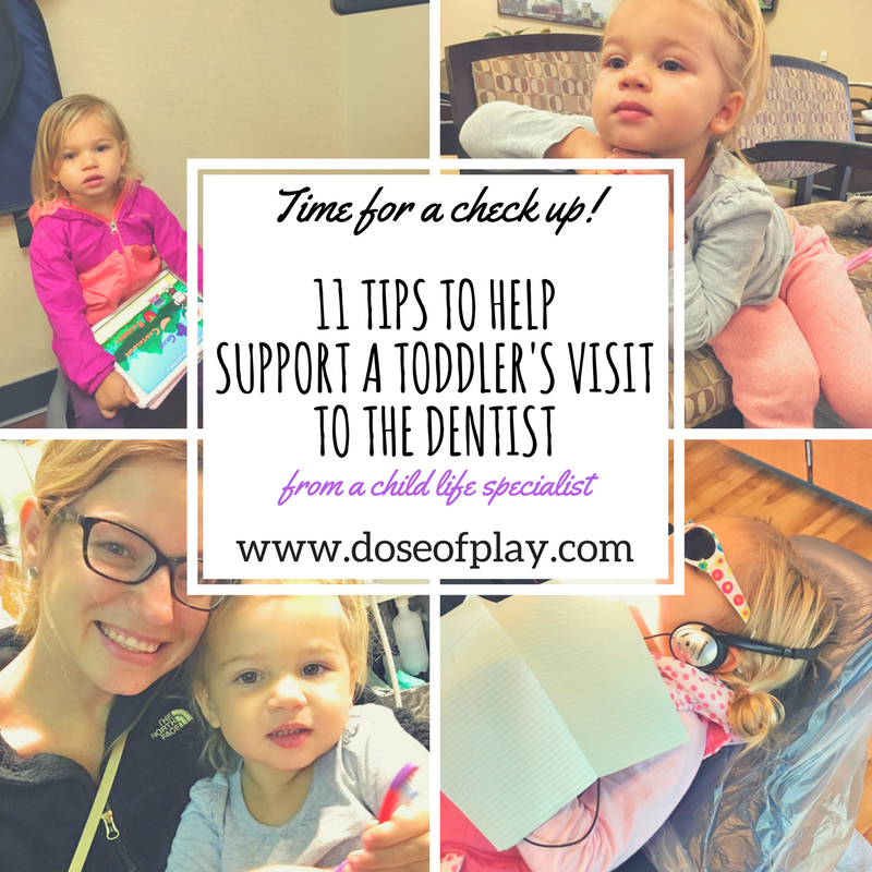 11 Tips to Help Support a Toddler's Visit to the Dentist! #doseofplay #preparation #copingstrategies #distraction #comfort holds