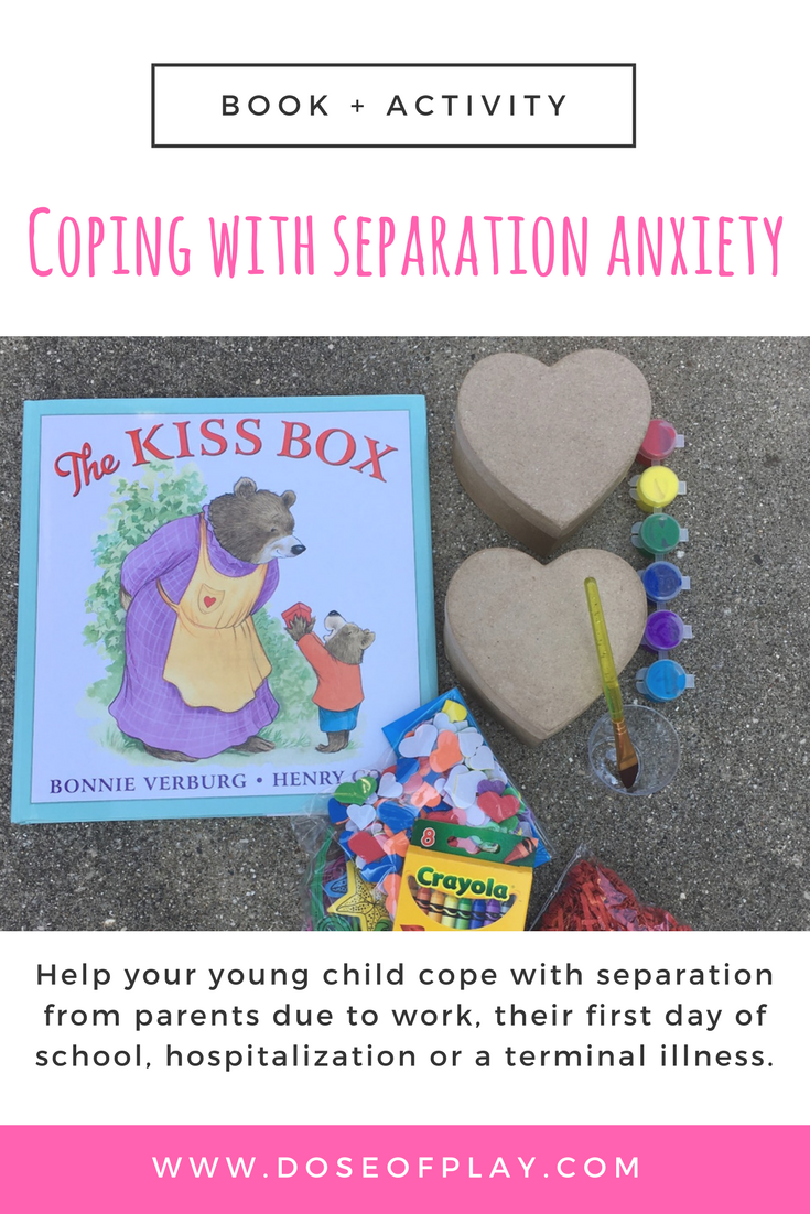Book and activity to help young children with separation anxiety! This can help toddlers, preschool kids foster positive coping with separation from a parent due to work, their first day of school, a sibling's hospitalization or a caregiver's terminal illness. #therapeuticactivity #toddlers #preschool #valentinesdaycraft #separationanxiety #childlife #childlifespecialist