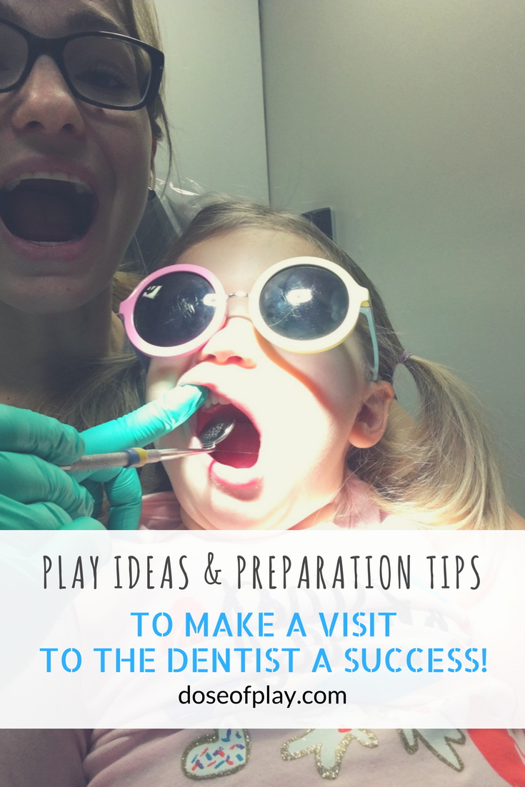 Play Ideas and Preparation Tips to help your child cope at the dentist #doseofplay #dentalplay #dentistpreparation #childlifespecialist #parentingtips #playideas #medicalplay #copingstrategies #visittothedentist #toddlers #preschoolers