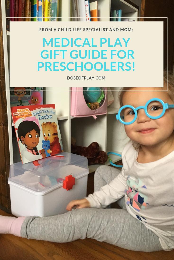 Medical Play Gift Guide for Preschoolers #doseofplay #medicalplay #playdoctor #pretendplay #childlifespecialist #nurseplay #pretenddoctor #pretendnurse #giftguideforpreschoolers #toysforpreschoolers #pretendplaytoys #futurenurse #futuredoctor